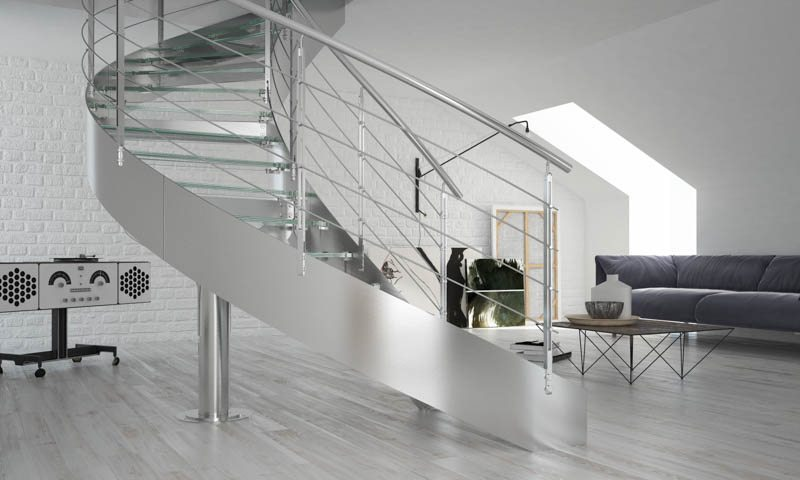 Curved staircases, curved stairs, spiral stairs, custom made staircases, custom staircases from Italy, wood steps, glass steps, wooden stairs