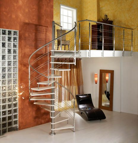 Spiral stairs, spiral staircases, curved staircases, curved stairs, custom made staircases, custom staircases from Italy, wood steps, glass steps, wooden stairs
