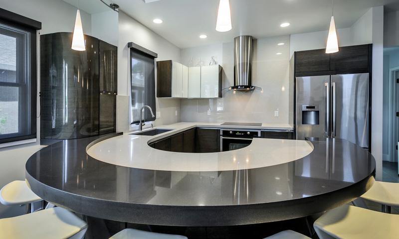 Custom Kitchen Featuring U Shaped Breakfast Bar