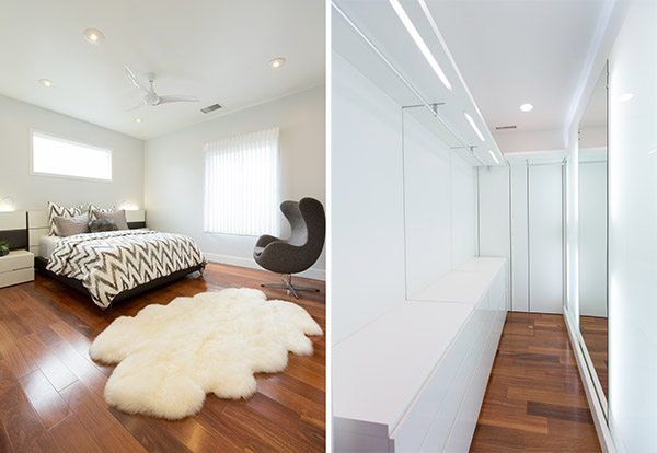 modern bedroom and closet