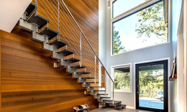 This custom staircase from CAST is the centerpiece of the home.