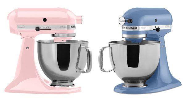KitchenAid Stand Mixer in Pink and Cornflour Blue.