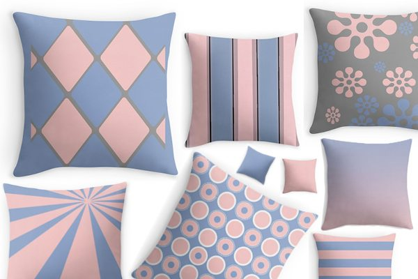 Rose Quartz and Serenity throw pillows from Red Bubble.