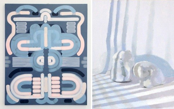 Right, Socked In, 2015, by Lily Stockman. Oil on Indian linen, 60 x 48 inches. Left, Cover Up, 2014, by Sara Dykstra. Oil on Linen, 20 x 16 inches.