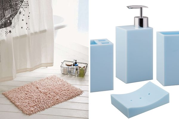 Left, the High Pile Shag Bath Mat from Urban Outfitters. Right, the Paragon 4-Piece Bath Accessory set from WayFair.
