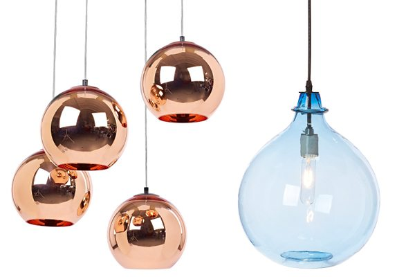 Left, Copper Glass Ball Pendant Lamp by Tom Dixon. Right, Jug Lamp in Sky from Cisco Home.