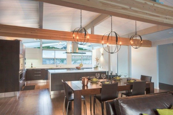 Eichlers tend to have a lot of natural light, but not many lighting fixtures, so choosing appropriate lighting is an important part of any renovation.