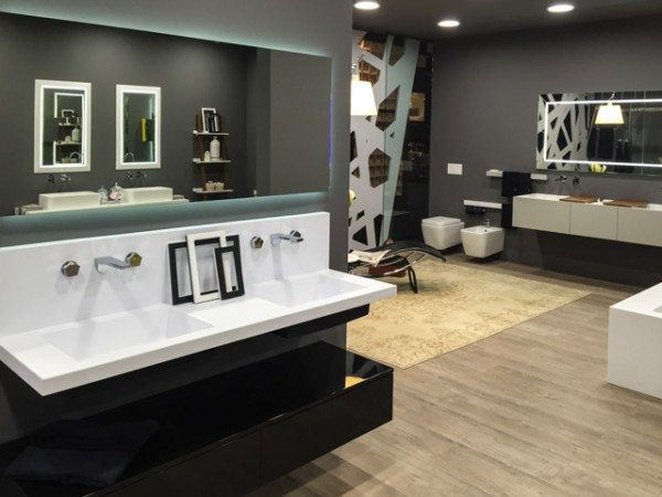 interior design trends, bathroom design, MOMA Design showed a range of new colors and styles in vanities, showers, and bathtubs.