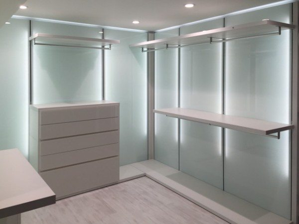 LED lighting behind the wall panels and new laminate flooring from Skema