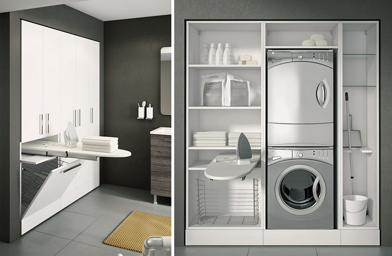 These cabinets from BMT Bagni's Double collection can be configured to fit large or small spaces.