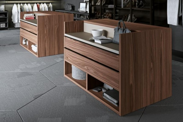 A closet island could have drawers, shelves, or cabinets.
