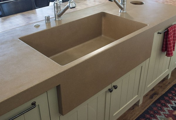 sonoma cast stone integrated kitchen sink