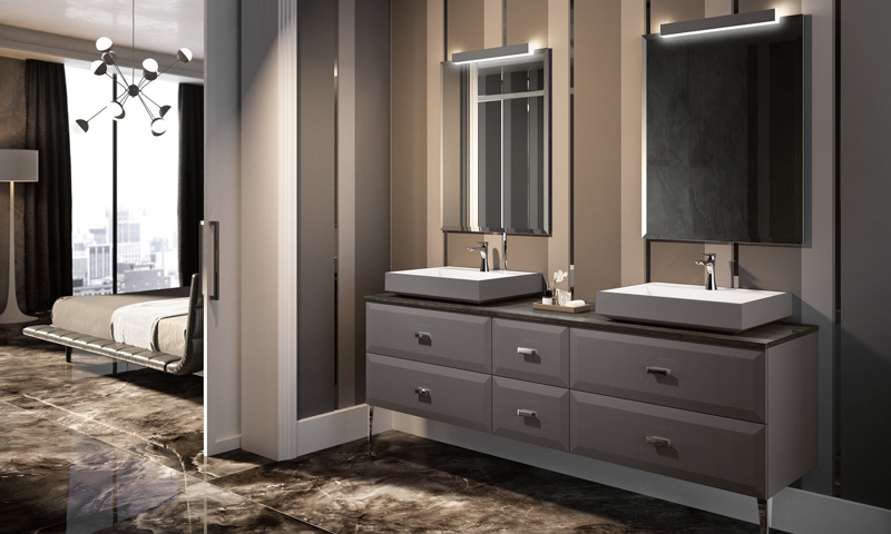 traditional bathroom mirrors and lamps