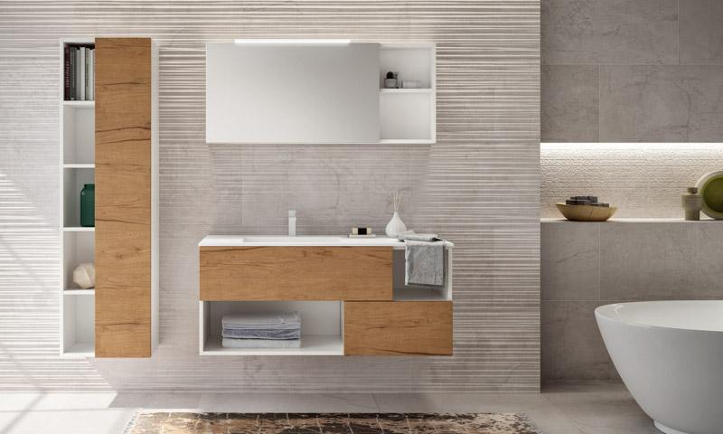 Floating Bathroom Vanity Open, Bathroom Vanity And Linen Cabinet