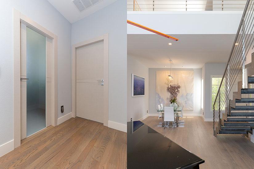 Redwood City hallway doors and formal living room.