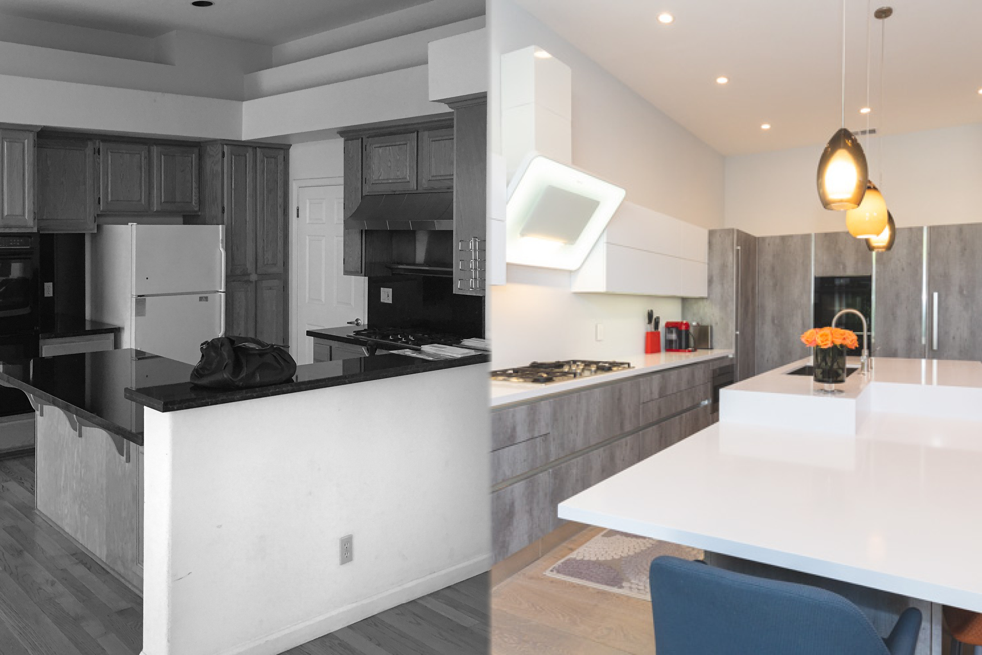 Before and after kitchen in Redwood City