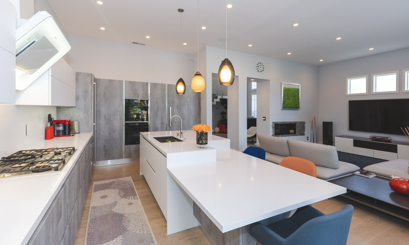 Modern kitchen and family room.