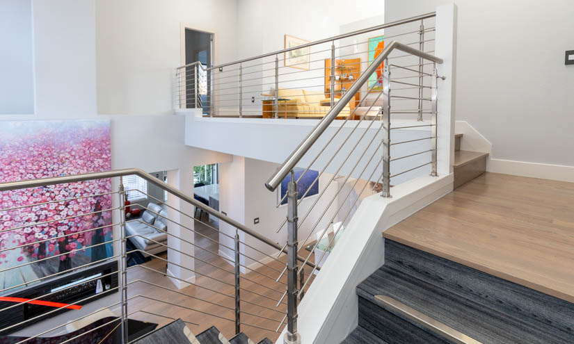 Stainless steel balustrade on the second floor.