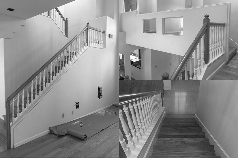 Before pictures of the outdated staircase.