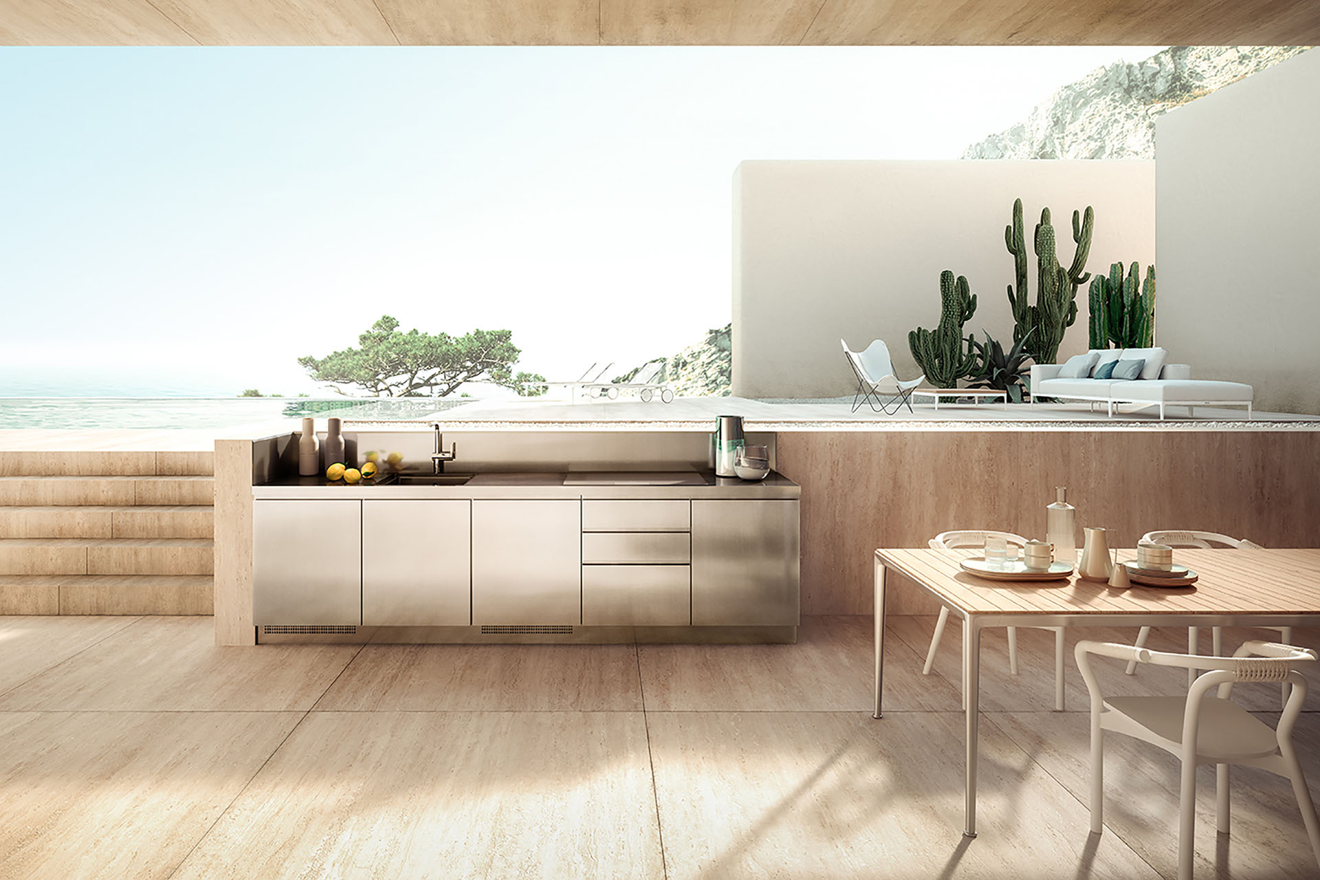 Abimis stainless steel outdoor kitchen with ocean view