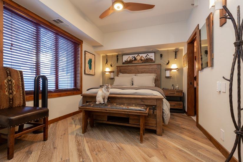 Engineered hardwood flooring in bedroom of rustic Lake Tahoe condo